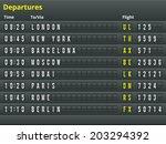 airport departures table.... | Shutterstock .eps vector #203294392