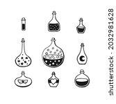 magic potion  glass bottle...   Shutterstock .eps vector #2032981628
