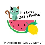 i love cat and fruits drawing...   Shutterstock .eps vector #2033042042
