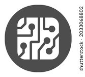 pcb layout in circle solid icon ... | Shutterstock .eps vector #2033068802