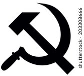 hammer and sickle isolated on...