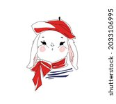 cute bunny illustration. french ... | Shutterstock .eps vector #2033106995