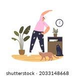senior lady doing exercises... | Shutterstock .eps vector #2033148668