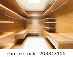 wide wooden dressing room ... | Shutterstock . vector #203318155