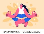 practicing meditation and...   Shutterstock .eps vector #2033223602