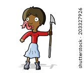 cartoon woman with spear... | Shutterstock .eps vector #203327926