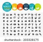 77 high quality food icons ... | Shutterstock .eps vector #203328175