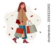 young  stylishly dressed woman...   Shutterstock .eps vector #2033322002