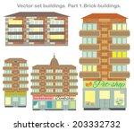 vector clip art  set buildings... | Shutterstock .eps vector #203332732