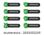 set of approved badges shield...   Shutterstock .eps vector #2033332235
