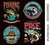 Fishing colorful vintage labels with inscriptions different fishes and smiling angler in sunglasses and baseball cap holding pike isolated vector illustration
