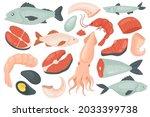 seafood set  raw sea ocean fish ...   Shutterstock .eps vector #2033399738