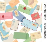 seamless pattern envelopes ...   Shutterstock .eps vector #2033407865