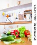 fresh vegetables lying on the... | Shutterstock . vector #203343496