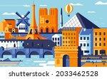 paris city colorful flat design ...   Shutterstock .eps vector #2033462528
