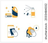 surface disinfection flat icons ...