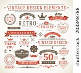 vintage vector design elements. ... | Shutterstock .eps vector #203348788
