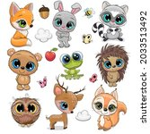 set of cute cartoon animals on... | Shutterstock .eps vector #2033513492