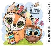 cute cartoon tribal squirrel... | Shutterstock .eps vector #2033513495