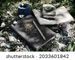 still life with witch books of...   Shutterstock . vector #2033601842