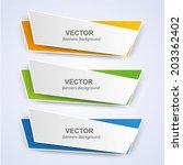 origami vector banners set | Shutterstock .eps vector #203362402