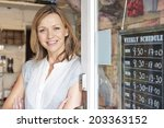 portrait of welcoming gift shop ... | Shutterstock . vector #203363152