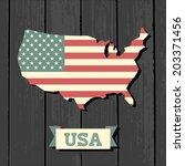 vintage design us map on wooden ... | Shutterstock .eps vector #203371456