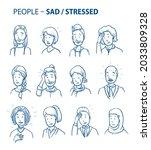 set of various sad  stressed...   Shutterstock .eps vector #2033809328