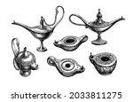 antique oil lamps. ink sketch... | Shutterstock .eps vector #2033811275