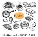 breakfast meal. big collection... | Shutterstock .eps vector #2033811578