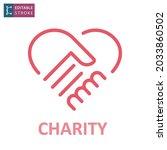 handshake in heart icon.... | Shutterstock .eps vector #2033860502