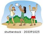 children playing ball  | Shutterstock .eps vector #203391025