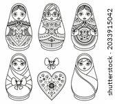 matryoshka wooden doll russian...   Shutterstock .eps vector #2033915042