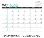 calendar 2022 year. may 2022... | Shutterstock .eps vector #2033928782