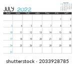 calendar 2022 year. july 2022... | Shutterstock .eps vector #2033928785