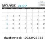 calendar 2022 year. december... | Shutterstock .eps vector #2033928788
