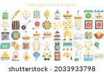 diwali multi color icons set....
