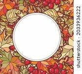 frame made of autumn leaves oak ...   Shutterstock .eps vector #2033936222