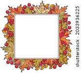 frame made of autumn leaves oak ...   Shutterstock .eps vector #2033936225
