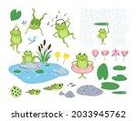 cartoon frogs and tadpoles flat ... | Shutterstock .eps vector #2033945762