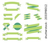 ribbons set  green design ... | Shutterstock .eps vector #203398012
