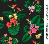 seamless tropical jungle floral ... | Shutterstock .eps vector #203400316