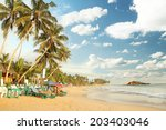 tropical paradise beach with... | Shutterstock . vector #203403046