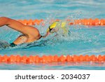 Swimmer during a gala swimming event - stock photo