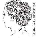 vectors of hairstyles  wedding... | Shutterstock .eps vector #2034038108