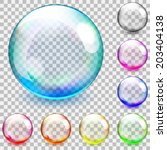 set of multicolored transparent ... | Shutterstock .eps vector #203404138