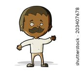 cartoon man with mustache waving | Shutterstock .eps vector #203407678