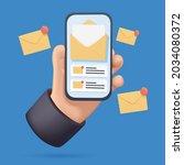 hand holding mobile smart phone ... | Shutterstock .eps vector #2034080372