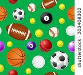 sports ball seamless pattern on ... | Shutterstock .eps vector #203408302