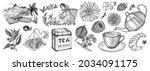 herbal tea bag brewing cooking... | Shutterstock .eps vector #2034091175